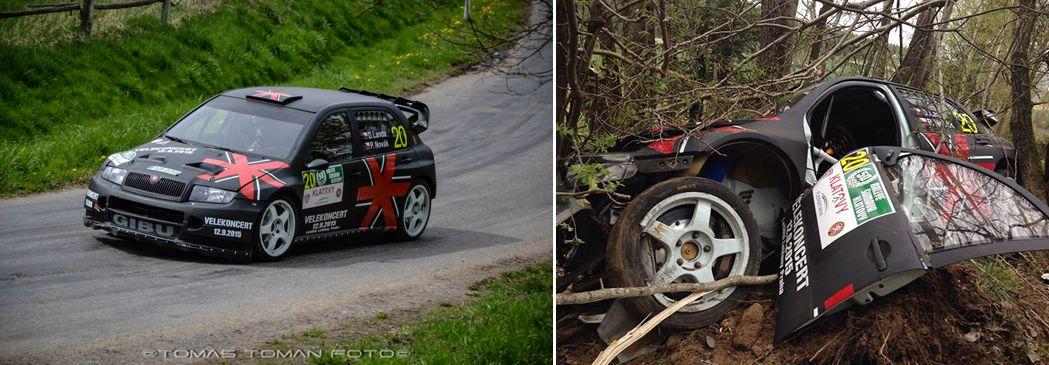 Rallye Šumava Klatovy 2015: Posádku Landa - Novák potkala velmi nepříjemná nehoda. Jejich Škoda Fabia WRC vyletěla ve vysoké rychlosti ze silnice přímo do stromů. Naštěstí se nikomu nic nestalo.